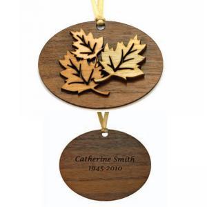 Leaf Wooden Urn Pendant