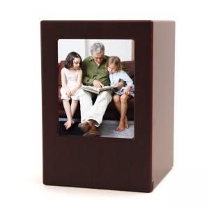 Petite Cherry Wood Photo Box Urn