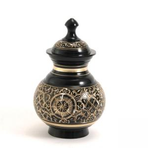 Black Engraved Extra Small Pet Urn
