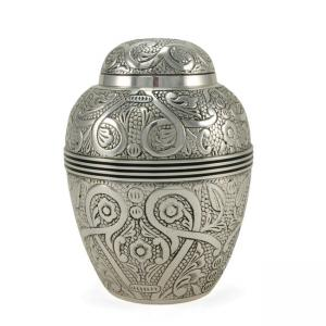 Silver Embossed Small Pet Urn