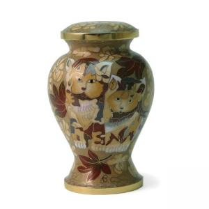 Cloisonné Kitty Brown Pet Urn