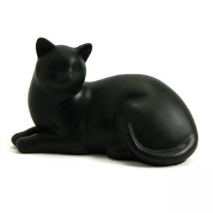 Cozy Cat Black Pet Urn, (resin)