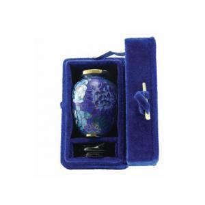 Blue Velvet Keepsake Urn Box - Cloisonné