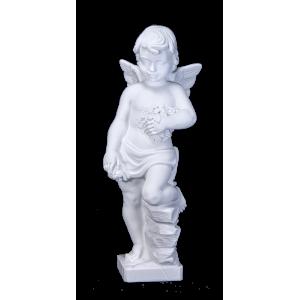 Marble Cherub - Sculpted Winged Cherub on Pedestal