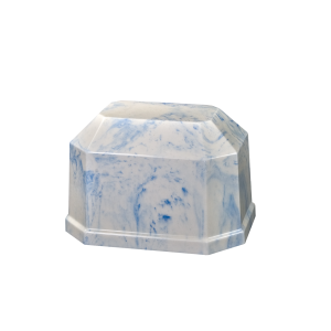 Angelica II - Small Rectangle Cultured Marble White w/ Sky Blue