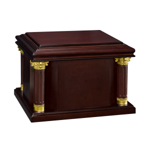 Diplomat – Dark Hardwood  Urn with Gold Accent Columns (Adult)