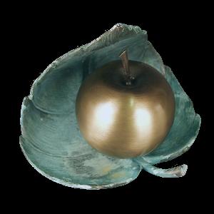Apple with Leaf - Apple Urn with Patina Leaf