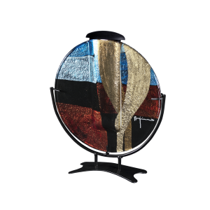 Round Contempo - Circular Glass Disk on Stand with Keepsake Tube