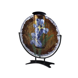 Round Bouquet - Circular Glass Disk on Stand with Keepsake Tube