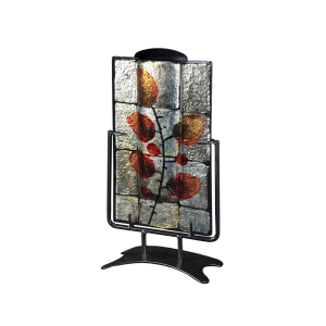 Rectangular Russet - Vertical Glass Disk on Stand with Keepsake Tube