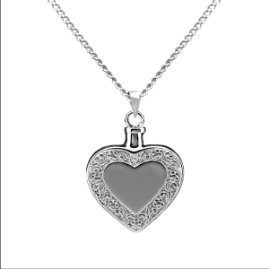 Heart w/Border - Sterling Silver with Chain