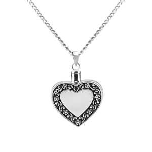 Heart Antique Border - Sterling Silver with Chain