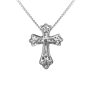 Fleur de Lis Cross - Sterling Silver with Chain
