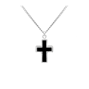 Cross with Black - Sterling Silver with Chain