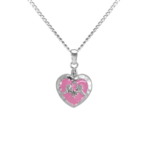 Pink Heart - Sterling Silver with Chain