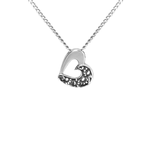 Angled Heart - Sterling Silver with Chain