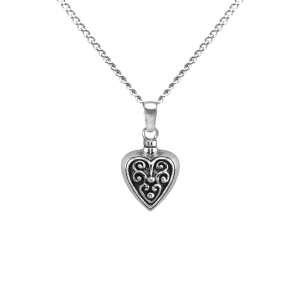 Filigreed Heart - Sterling Silver with Chain