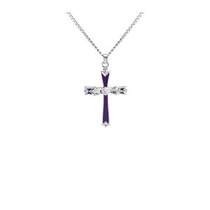 Large Cross w/Rose - Sterling Silver with Chain