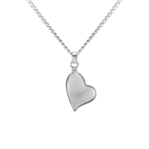 Canted Heart - Sterling Silver with Chain