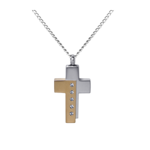 Two Tone Cross  - Stainless Steel with Chain