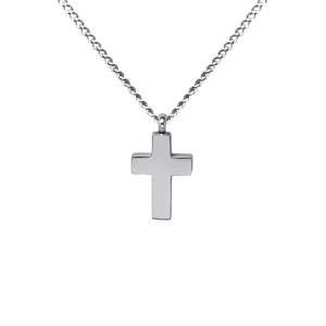 Gothic Flat Cross    - Stainless Steel with Chain