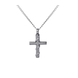 Roped Cross    - Stainless Steel with Chain