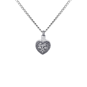 Antiqued Heart     - Stainless Steel with Chain