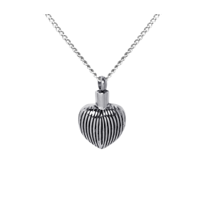 Ribbed Heart    - Stainless Steel with Chain