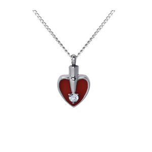 Heart Red and Silver    - Stainless Steel with Chain