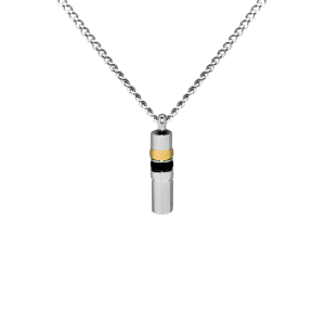Black/Gold/Silver Cylinder    - Stainless Steel with Chain