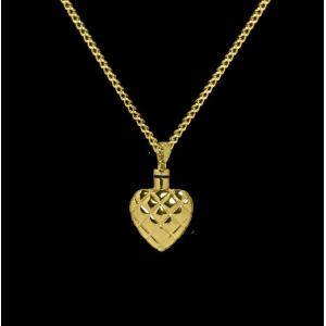 Quilted Heart - Brass with Chain