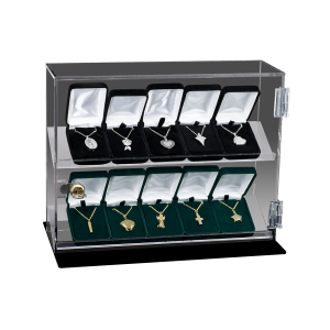 Jewelry Display Case - 10 Unit Acrylic Case with Lock