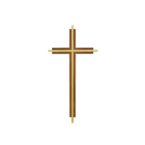 "Inlaid Cross - 10"" Inlaid Brass Cross on Wooded Cross"
