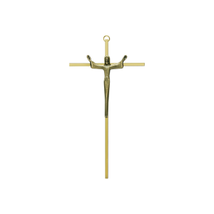 "10"" Slimline Brass Risen Christ Crucifix"