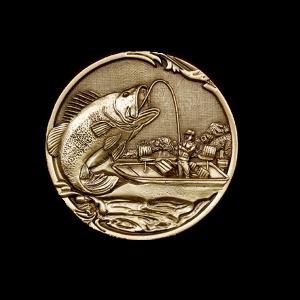 Hooked - Brushed Gold Bass, Fisherman