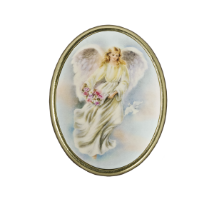 Ascending Angel - Italian Hand-Painted Oval