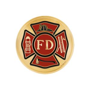 Fire Department, 4 inch - Red and Goldtone