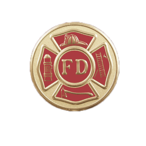 Fire Department, 2 inch - Red and Goldtone