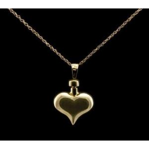 Heart, Cremation Locket - 14k Gold with Chain