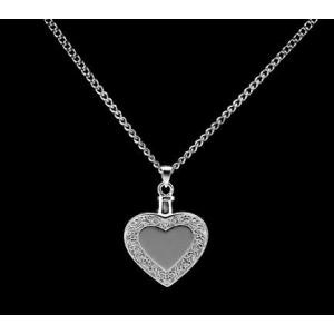 Heart with Border - Sterling Silver with Chain