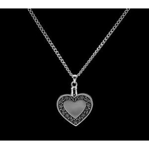 Heart w/Antique Border - Sterling Silver with Chain