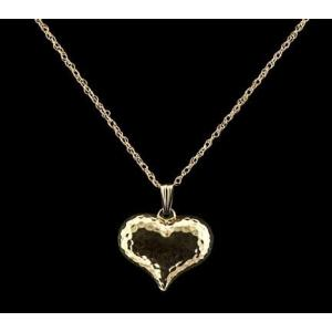Hammered Heart - 14k Gold with Chain