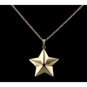 Shaped 5 Point Star - 14k Gold with Chain