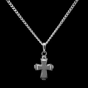 Tiered Cross - Sterling Silver Cremation Necklace