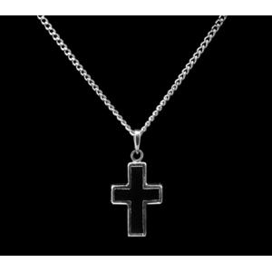 Cross with Black – Sterling Silver with Chain
