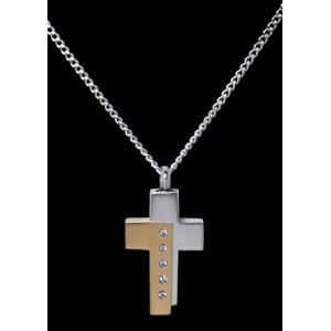 Two Tone Cross – Stainless Steel with Chain