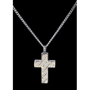 Diagonal Jeweled Cross – Stainless Steel with Chain