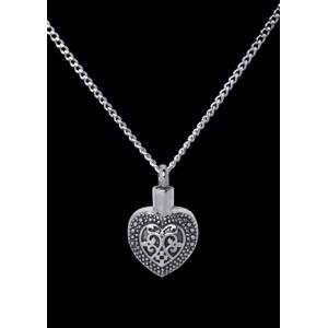 Antiqued Heart – Stainless Steel with Chain