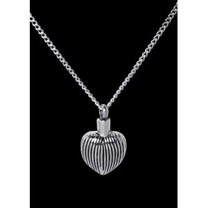 Ribbed Heart – Stainless Steel with Chain
