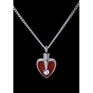 Heart Red and Silver – Stainless Steel with Chain